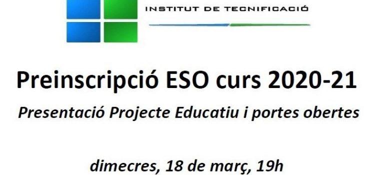 Preinscripció ESO curs 2020-21